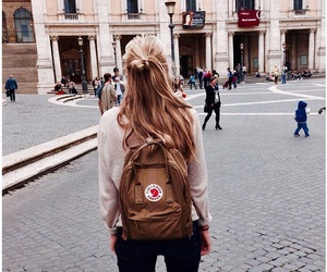 girl, backpack, and city image
