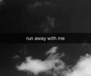 black and white, run, and away image