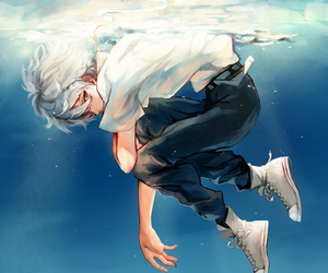 anime, boy, and water image