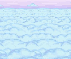 pixel, clouds, and blue image