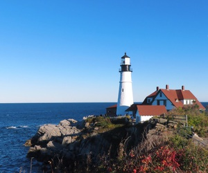 blue, lighthouse, and Maine image