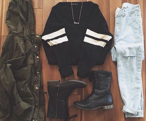 outfit, jeans, and black image