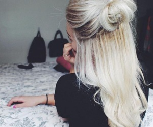 blond, bun, and hair image