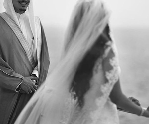 arab, black and white, and couple image