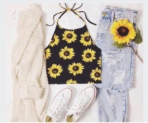 fashion, outfit, and sunflower image