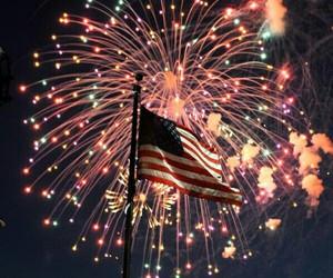 fireworks and flag image