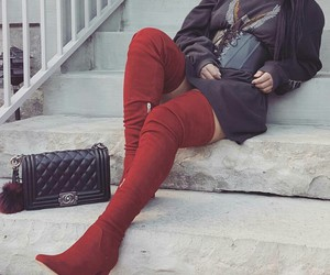 red thigh high boots, long straight black hair, and black chanel purse image