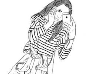 drawing, girl, and iphone image