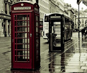 london, telephone, and red image