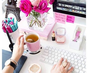 pink, desk, and flowers image