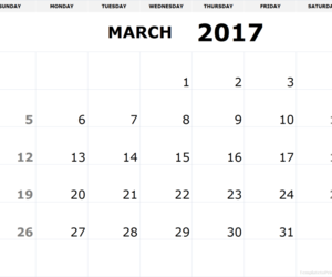 march, march 2017, and march calendar image