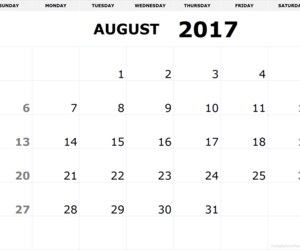 August, calendar, and 2017 image
