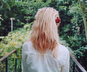 blond hair, flowers, and outside image