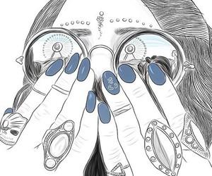 outline, art, and girl image