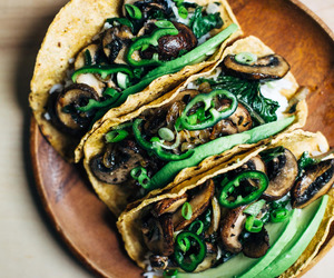 avocado, food, and mushrooms image