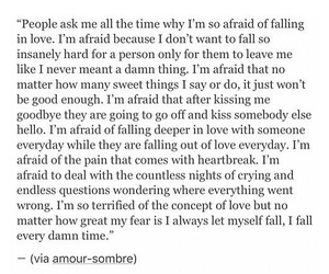 afraid, falling in love, and heartbreak image