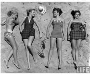 bathing suits, 50's, and models image