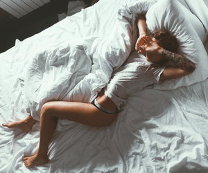 bed, girl, and morning image