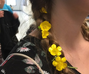 braids, yellow flower, and flower image