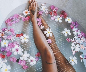 flowers, bath, and tattoo image