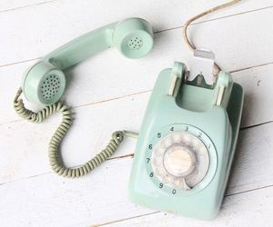 phone, vintage, and blue image