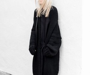 black, sweater, and cardigan image