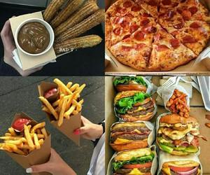 food, pizza, and churros image