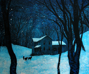 art, winter, and house image