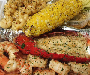 food, macaroni, and seafood image