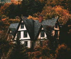 architecture, autumn, and woods image