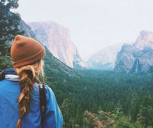 forest, girl, and montains image