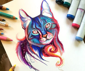 drawing, cat, and art image