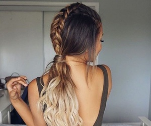 blonde, hairstyle, and plait image