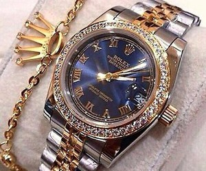 rolex, diamond, and gold image