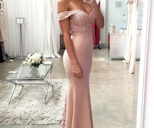lace prom dress, long evening gowns, and blush pink prom dresses image