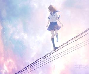 anime girl and scenery image