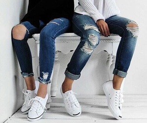 casual, fashion, and ripped jeans image