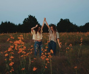 flowers, friendship, and girls image