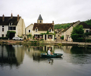 boat, house, and vintage image