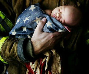 love, baby, and firefighter image