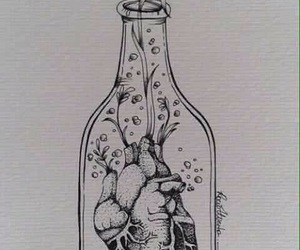 bottle, flowers, and heart image