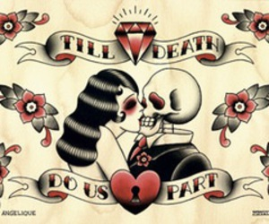 death, love, and skull image
