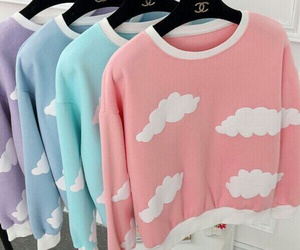 pink, clouds, and style image