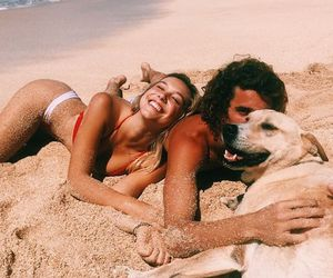 beach, dog, and couple goals image