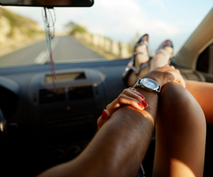 car, driving, and holding hands image