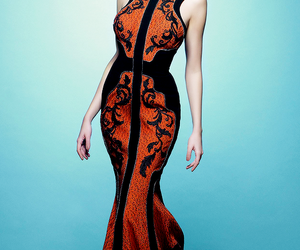 black, dress, and orange image