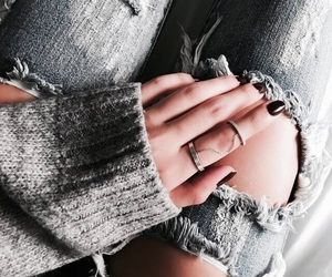 nails, ripped jeans, and denim image