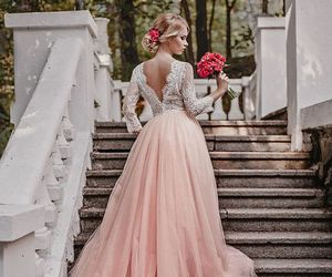 pink, wedding, and wedding dress image