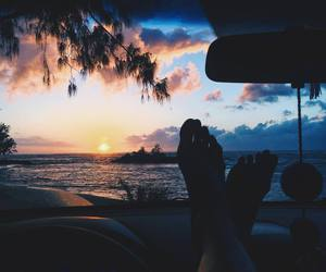 ocean, sunset, and travel image