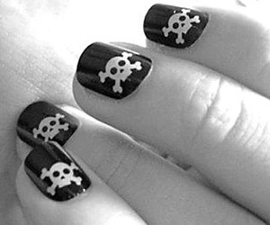 nails, skull, and black and white image